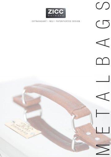 Zicc ® Bags - Designtaschen aus Metall - Händlerprospekt