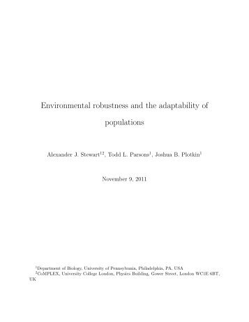 Environmental robustness and the adaptability of populations