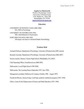 Angela Lee - School of Arts & Sciences - University of Pennsylvania