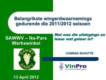 Wingerdwaarnemings van die 2011/2012 seisoen - Conrad Schutte