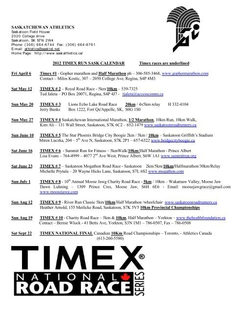 1998 Run Sask Calendar Timex Races Are Underlined