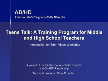 Teens Talk: A Training Program for Middle and High School Teachers