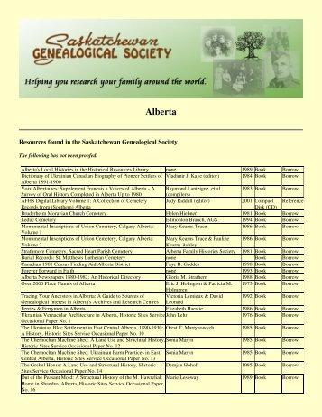 Alberta - Saskatchewan Genealogical Society