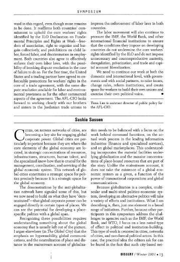 saskia sassen global city thesis Divided cities: increasing socio-spatial polarization  increasing socio-spatial polarization within large cities in the netherlands   saskia sassen (1991, 2001.