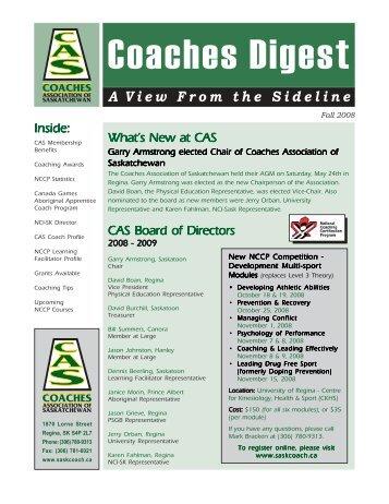 CAS News Fall08.pmd - Sask Sport Inc.