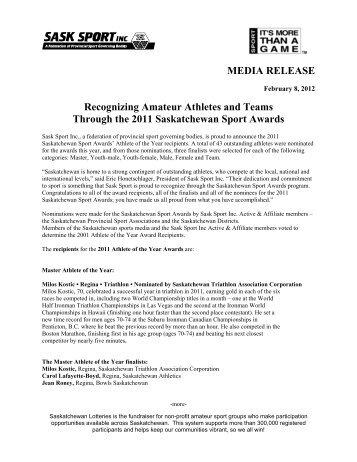 Recognizing Amateur Athletes and Teams Through ... - Sask Sport Inc.