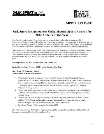 MEDIA RELEASE Sask Sport Inc. announces Saskatchewan Sports ...