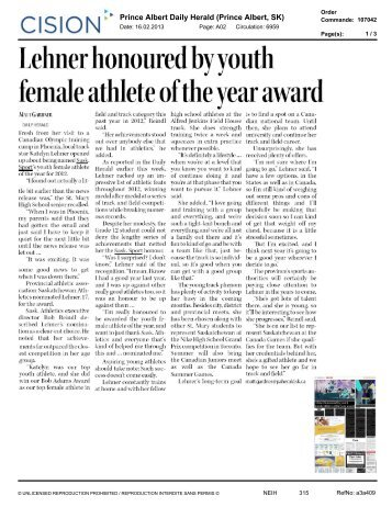 Lehner honoured by youth female athlete of the ... - Sask Sport Inc.