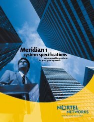 Meridian 1 system specifications communications options ... - SaskTel