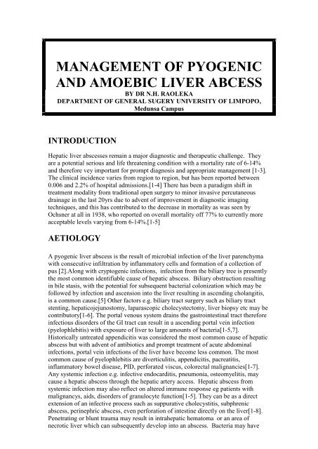 amebic vs pyogenic liver abscess