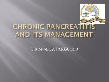 CHRONIC PANCREATITIS AND ITS MANAGEMENT - SASSiT