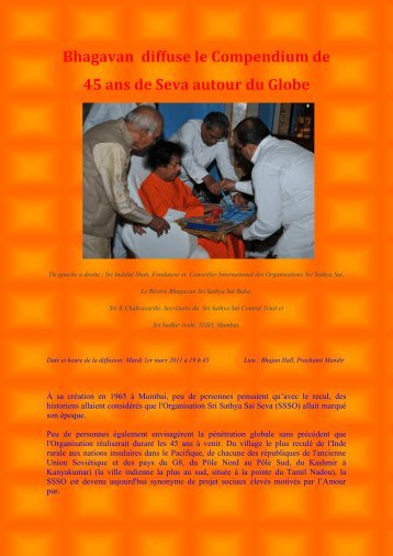2010 Compendium. - Organisation Sri Sathya Sai France