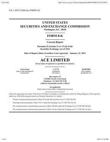 2012-08-15 ACE Form 8-K.pdf - ACE Insurance Litigation Watch