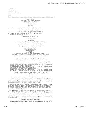 Form 8-K - ACE Insurance Litigation Watch