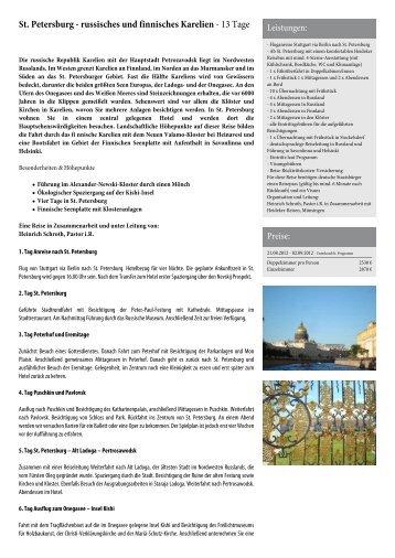St. Petersburg - russisches und finnisches Karelien - Heideker Reisen