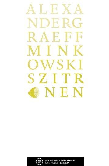 alexa nderg raeff mink owski s zitr nen - Verlagshaus J. Frank
