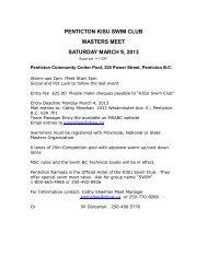 penticton kisu swim club masters meet saturday march 9, 2013