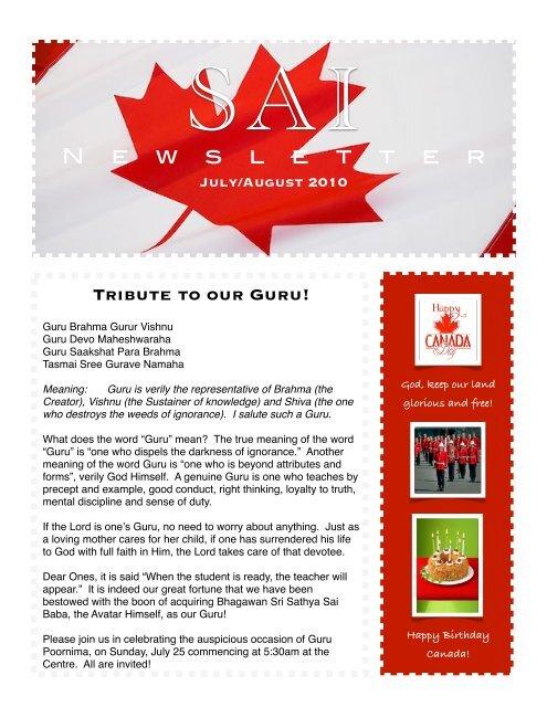 Spring Edition - The Sri Sathya Sai Baba Centre of Toronto