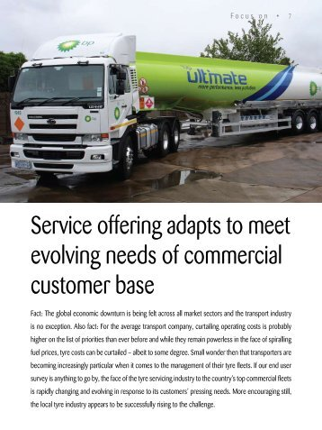 Service offering adapts to meet evolving needs of ... - SA TREADS