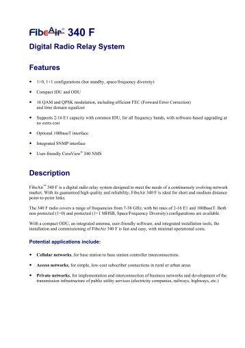 Digital Radio Relay System Features Description - Sat-Trakt ...