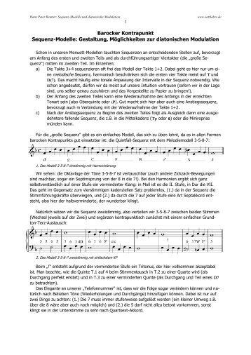 Barocker Kontrapunkt: Arbeitsblatt mit Menuett-Anfängen ...