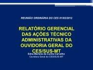 Relatório Gerencial OGCES-MT - Secretaria de Estado de Saúde de ...