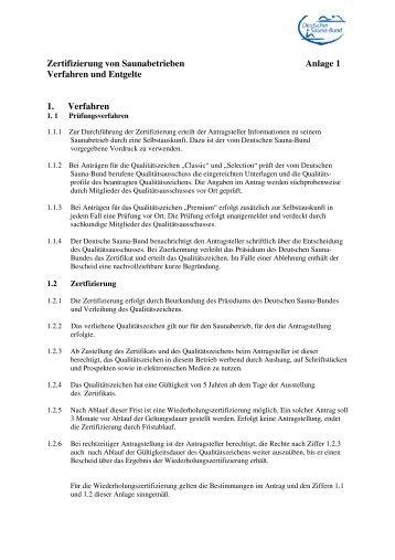 Zertifizierung von Saunabetrieben Anlage 1 Verfahren und Entgelte ...
