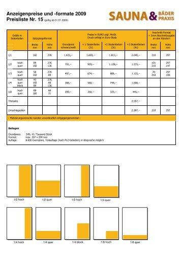 Anzeigenpreise und -formate 2009