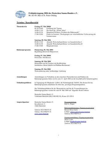 Frühjahrstagung 2004 des Deutschen Sauna-Bundes e.V. 06. bis 09 ...