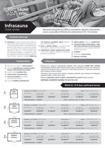 Ceník infrakabin (formát .pdf) - Sauny Vital