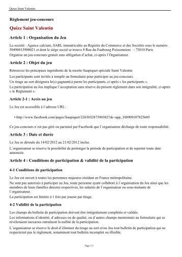 Quizz Saint Valentin - Saupiquet