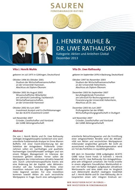 Fondsmanager-Rating: J. Henrik Muhle & Dr. Uwe Rathausky - Sauren