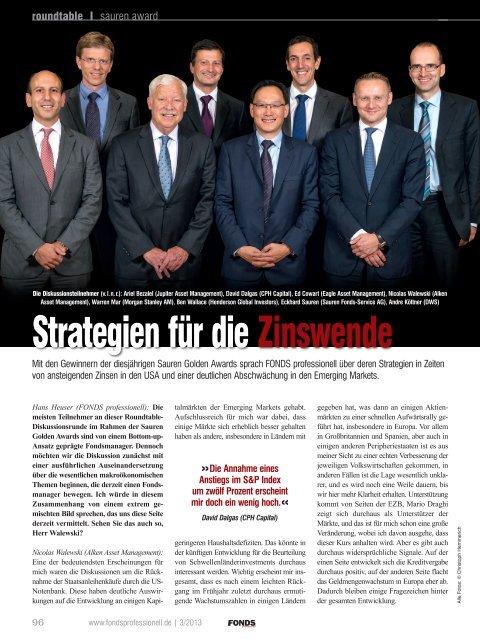 """FONDS professionell: """"Strategien für die Zinswende"""" - Sauren"""