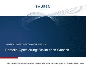 """Präsentation: """"Portfolio-Optimierung: Risiko nach Wunsch"""" - Sauren"""