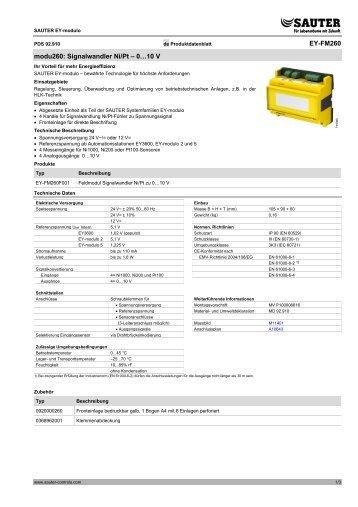 EY-FM260 modu260: Signalwandler Ni/Pt – 0…10 V