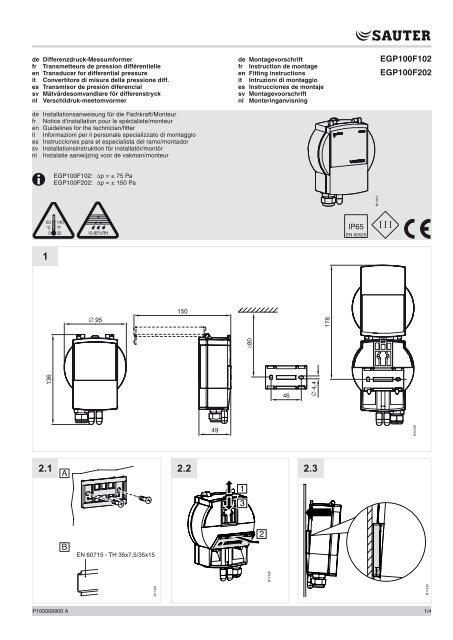 EGP100F102 EGP100F202 1 2 3 A B - sauter-controls.com sauter ...