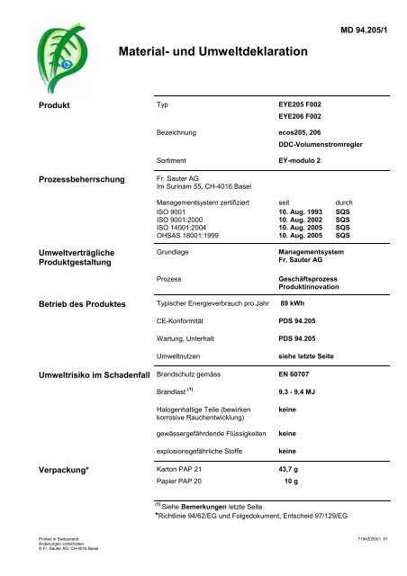 Material- und Umweltdeklaration - Sauter