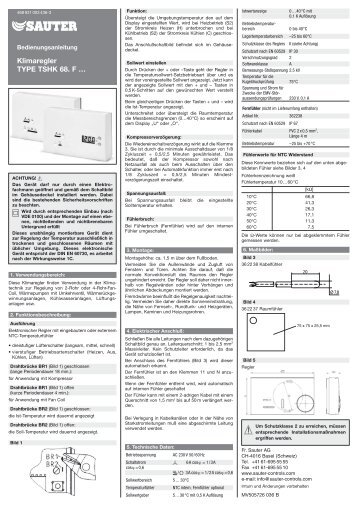 Klimaregler TYPE TSHK 68. F … - SAUTER AG