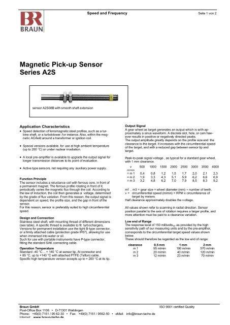 Magnetic Pick-up Sensor Series A2S - Braun GmbH