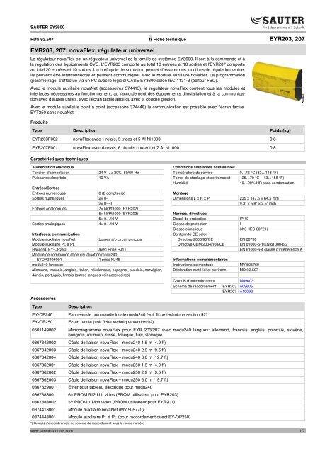 Sauter EYR203F001 EYR 203  Régulateur universel moduFlex