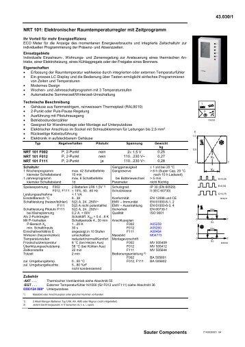 43.030/1 Sauter Components NRT 101: Elektronischer ...