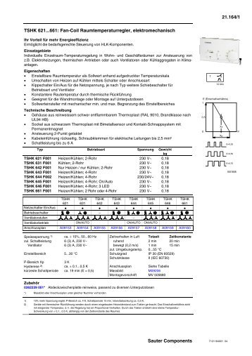 TSHK 621...661: Fan-Coil Raumtemperaturregler, elektromechanisch