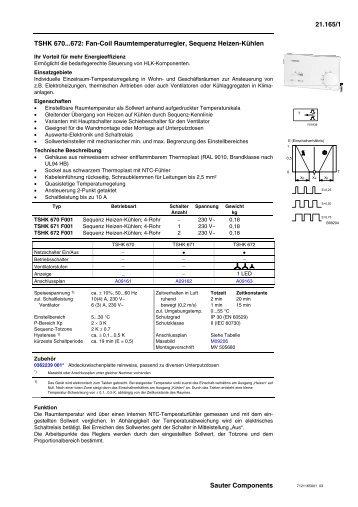 TSHK 670...672: Fan-Coil Raumtemperaturregler, Sequenz Heizen