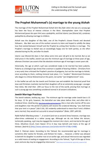 The Prophet Muhammad's (s) marriage to the young ... - Call To Islam