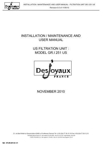 gri 181 installation operating guide desjoyaux pools usa. Black Bedroom Furniture Sets. Home Design Ideas