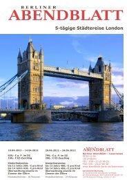 5-tägige Städtereise London - Leserreisen - Berliner Abendblatt