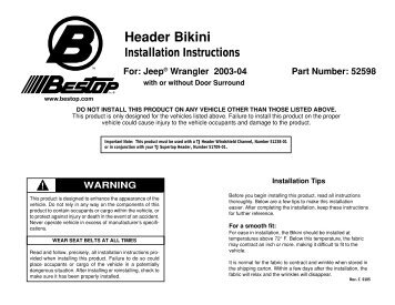Installation Instructions - Jeep