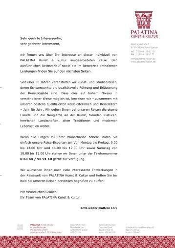 Sehr geehrte Interessentin - Palatina-reisen.de