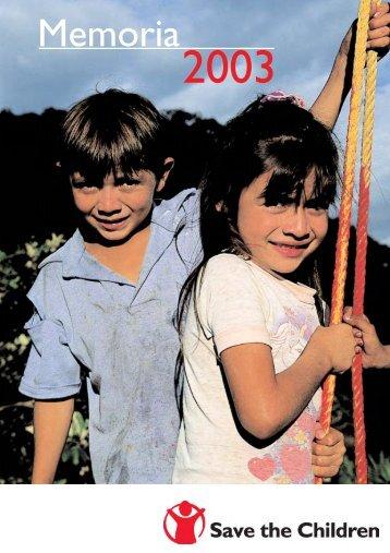 Memoria Save 2003 - Save the Children