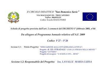 Scheda Progetto CITTADINANZA ATTIVA - Istituto Comprensivo San ...